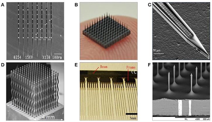 """Разные варианты """"чипов"""" - кремниевых электродных матриц для регистрации нейронной активности (В - Utah array). Взято из научной статьи."""