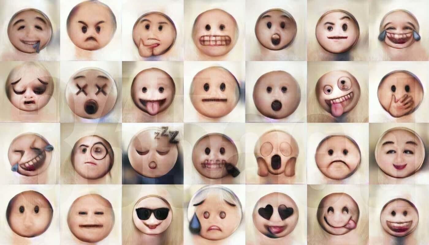 Эмодзи превратили в человеческие лица