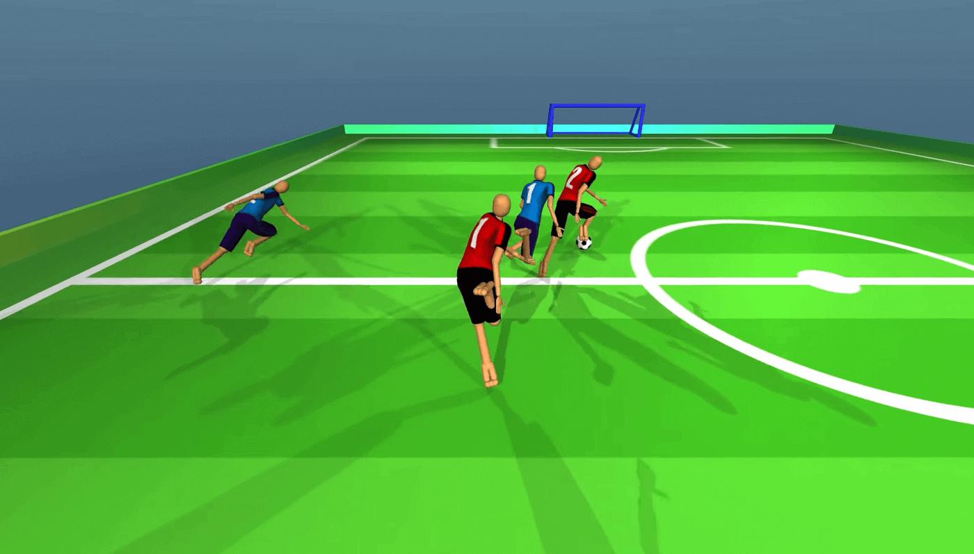 Simulated Humanoid Football